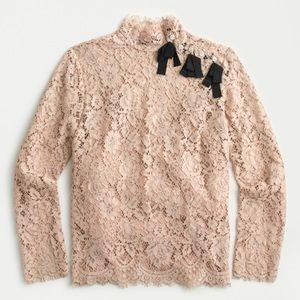 J crew mock neck top floral lace neutral